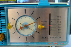 SOLD! - Apr 14, 2016 - SLATE BLUE Mid Century Retro Jetsons 1964 Sylvania Model AK22 Tube AM Clock Radio Totally Restored! , Vintage Radio - Sylvania, Retro Radio Farm  - 10