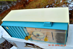 SOLD! - Apr 14, 2016 - SLATE BLUE Mid Century Retro Jetsons 1964 Sylvania Model AK22 Tube AM Clock Radio Totally Restored! - [product_type} - Sylvania - Retro Radio Farm