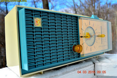 SOLD! - Apr 14, 2016 - SLATE BLUE Mid Century Retro Jetsons 1964 Sylvania Model AK22 Tube AM Clock Radio Totally Restored! , Vintage Radio - Sylvania, Retro Radio Farm  - 2