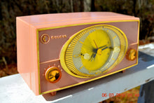 Load image into Gallery viewer, SOLD! - Oct 22, 2016 - PINK CYCLOPIC Vintage Mid Century Retro Jetsons 1957 Bulova Model 140 Tube AM Clock Radio WORKS! - [product_type} - Bulova - Retro Radio Farm