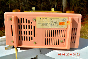 SOLD! - Oct 22, 2016 - PINK CYCLOPIC Vintage Mid Century Retro Jetsons 1957 Bulova Model 140 Tube AM Clock Radio WORKS! - [product_type} - Bulova - Retro Radio Farm