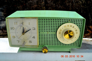 SOLD! - May 4, 2016 - BLUETOOTH MP3 READY - Mint Green 1958 Retro Vintage Jetsons GE General Electric Tube AM Radio Model C435 Radio Works!! - [product_type} - General Electric - Retro Radio Farm