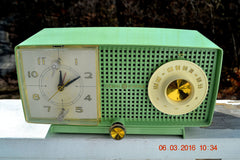 SOLD! - May 4, 2016 - BLUETOOTH MP3 READY - Mint Green 1958 Retro Vintage Jetsons GE General Electric Tube AM Radio Model C435 Radio Works!! , Vintage Radio - General Electric, Retro Radio Farm  - 2