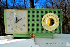 SOLD! - May 4, 2016 - BLUETOOTH MP3 READY - Mint Green 1958 Retro Vintage Jetsons GE General Electric Tube AM Radio Model C435 Radio Works!! , Vintage Radio - General Electric, Retro Radio Farm  - 4