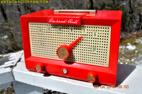 SOLD! - Feb 8, 2017 - CHERRY BOMB Red Retro Jetsons Vintage 1956 Packard Bell 5R3 AM Tube Radio Works Great!