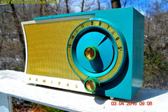 RETROGASM TURQUOISE AND WHITE Retro Jetsons 1956 Admiral Model 5T36 Tube AM Radio Totally Restored! , Vintage Radio - Admiral, Retro Radio Farm  - 1