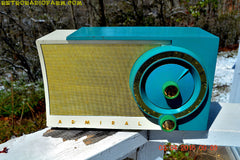 RETROGASM TURQUOISE AND WHITE Retro Jetsons 1956 Admiral Model 5T36 Tube AM Radio Totally Restored! , Vintage Radio - Admiral, Retro Radio Farm  - 3