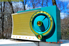 RETROGASM TURQUOISE AND WHITE Retro Jetsons 1956 Admiral Model 5T36 Tube AM Radio Totally Restored! , Vintage Radio - Admiral, Retro Radio Farm  - 4