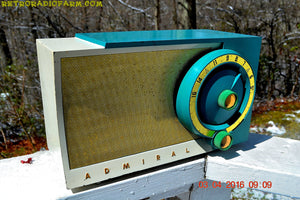SOLD! - July 19, 2016 -RETROGASM TURQUOISE AND WHITE Retro Jetsons 1956 Admiral Model 5T36 Tube AM Radio Totally Restored! - [product_type} - Admiral - Retro Radio Farm