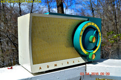 RETROGASM TURQUOISE AND WHITE Retro Jetsons 1956 Admiral Model 5T36 Tube AM Radio Totally Restored! , Vintage Radio - Admiral, Retro Radio Farm  - 5