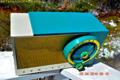 RETROGASM TURQUOISE AND WHITE Retro Jetsons 1956 Admiral Model 5T36 Tube AM Radio Totally Restored! , Vintage Radio - Admiral, Retro Radio Farm  - 8