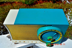 RETROGASM TURQUOISE AND WHITE Retro Jetsons 1956 Admiral Model 5T36 Tube AM Radio Totally Restored! , Vintage Radio - Admiral, Retro Radio Farm  - 7