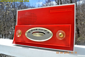 SOLD! - Jan. 10, 2018 - RED AND WHITE Retro Jetsons Vintage 1957 RCA Victor Model 1-X-3B AM Tube Radio Stunning! - [product_type} - RCA Victor - Retro Radio Farm