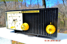 Load image into Gallery viewer, SOLD! - May 11, 2016 - BLUETOOTH MP3 Ready - EBONY Mid Century Retro Jetsons 1959 Motorola 5C11E Tube AM Clock Radio Totally Restored! - [product_type} - Motorola - Retro Radio Farm