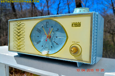 SOLD - Apr 10, 2016 - WEDGEWOOD BLUE Retro Jetsons Vintage 1965 Arvin Model 53R05 AM Tube Clock Radio Works Great Looks Great!