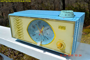 SOLD - Apr 10, 2016 - WEDGEWOOD BLUE Retro Jetsons Vintage 1965 Arvin Model 53R05 AM Tube Clock Radio Works Great Looks Great! - [product_type} - Arvin - Retro Radio Farm
