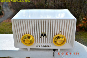 SOLD! - Apr 13, 2016 - BLUETOOTH MP3 READY - Alpine White Retro Jetsons 1958 Motorola Model 56R Tube AM Clock Radio Totally Restored! - [product_type} - Motorola - Retro Radio Farm
