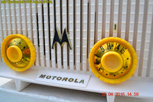 Load image into Gallery viewer, SOLD! - Apr 13, 2016 - BLUETOOTH MP3 READY - Alpine White Retro Jetsons 1958 Motorola Model 56R Tube AM Clock Radio Totally Restored! - [product_type} - Motorola - Retro Radio Farm