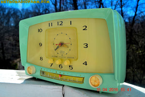 SOLD! - Oct 7, 2016 - MINT GREEN Retro Mid Century 1955 Westinghouse Model H-548T5 AM Tube Radio Alarm Clock Totally Restored! - [product_type} - Westinghouse - Retro Radio Farm
