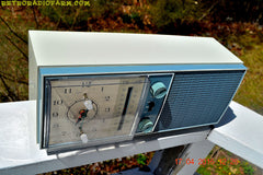 SOLD! - May 4, 2016 - SLATE BLUE Mid Century Antique Retro Vintage 1963 RCA Victor Model RGS19A AM/FM Tube Clock Radio Works Great! , Vintage Radio - RCA Victor, Retro Radio Farm  - 5