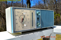 SOLD! - May 4, 2016 - SLATE BLUE Mid Century Antique Retro Vintage 1963 RCA Victor Model RGS19A AM/FM Tube Clock Radio Works Great! , Vintage Radio - RCA Victor, Retro Radio Farm  - 2