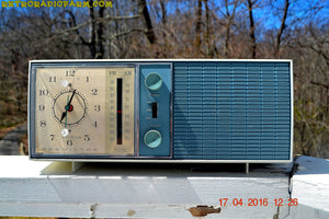 SOLD! - May 4, 2016 - SLATE BLUE Mid Century Antique Retro Vintage 1963 RCA Victor Model RGS19A AM/FM Tube Clock Radio Works Great! , Vintage Radio - RCA Victor, Retro Radio Farm  - 3