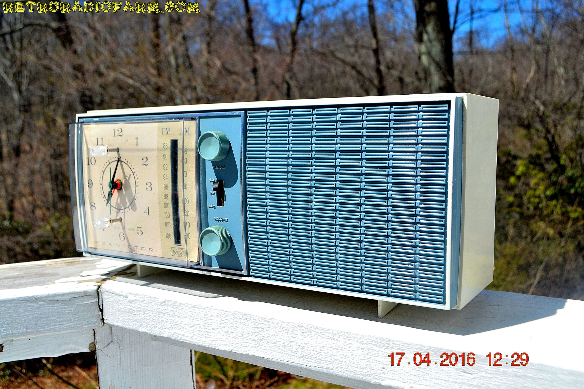 SOLD! - May 4, 2016 - SLATE BLUE Mid Century Antique Retro Vintage 1963 RCA Victor Model RGS19A AM/FM Tube Clock Radio Works Great! - [product_type} - RCA Victor - Retro Radio Farm