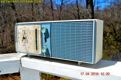 SOLD! - May 4, 2016 - SLATE BLUE Mid Century Antique Retro Vintage 1963 RCA Victor Model RGS19A AM/FM Tube Clock Radio Works Great! , Vintage Radio - RCA Victor, Retro Radio Farm  - 1