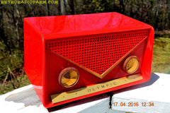 SOLD! - Apr 21, 2016 - FIRE ENGINE Red Mid Century Retro Jetsons 1959 Olympic Model 550-551 Tube AM Radio Works! , Vintage Radio - Olympic, Retro Radio Farm  - 7