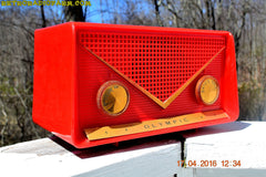 SOLD! - Apr 21, 2016 - FIRE ENGINE Red Mid Century Retro Jetsons 1959 Olympic Model 550-551 Tube AM Radio Works! , Vintage Radio - Olympic, Retro Radio Farm  - 2