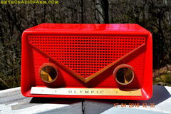 SOLD! - Apr 21, 2016 - FIRE ENGINE Red Mid Century Retro Jetsons 1959 Olympic Model 550-551 Tube AM Radio Works! , Vintage Radio - Olympic, Retro Radio Farm  - 6