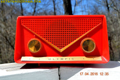 SOLD! - Apr 21, 2016 - FIRE ENGINE Red Mid Century Retro Jetsons 1959 Olympic Model 550-551 Tube AM Radio Works! , Vintage Radio - Olympic, Retro Radio Farm  - 3