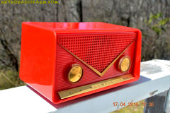 SOLD! - Apr 21, 2016 - FIRE ENGINE Red Mid Century Retro Jetsons 1959 Olympic Model 550-551 Tube AM Radio Works! , Vintage Radio - Olympic, Retro Radio Farm  - 4