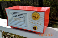SOLD! - June 7, 2016 - SALMON and White Mid Century Retro Antique 1956 Admiral Model 5C41 Tube AM Radio Totally Restored! , Vintage Radio - Admiral, Retro Radio Farm  - 4