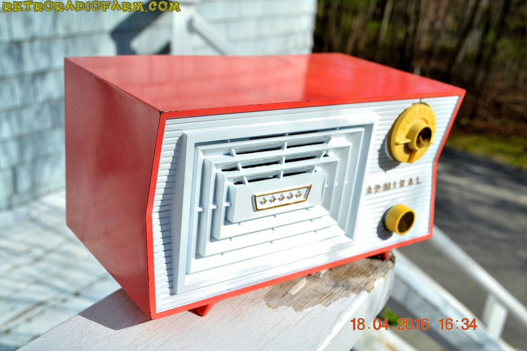 SOLD! - June 7, 2016 - SALMON and White Mid Century Retro Antique 1956 Admiral Model 5C41 Tube AM Radio Totally Restored! , Vintage Radio - Admiral, Retro Radio Farm  - 1