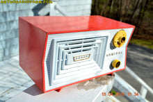 Load image into Gallery viewer, SOLD! - June 7, 2016 - SALMON and White Mid Century Retro Antique 1956 Admiral Model 5C41 Tube AM Radio Totally Restored! , Vintage Radio - Admiral, Retro Radio Farm  - 1