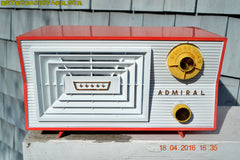 SOLD! - June 7, 2016 - SALMON and White Mid Century Retro Antique 1956 Admiral Model 5C41 Tube AM Radio Totally Restored! , Vintage Radio - Admiral, Retro Radio Farm  - 2
