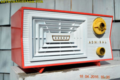 SOLD! - June 7, 2016 - SALMON and White Mid Century Retro Antique 1956 Admiral Model 5C41 Tube AM Radio Totally Restored! , Vintage Radio - Admiral, Retro Radio Farm  - 3