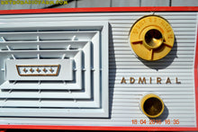 Load image into Gallery viewer, SOLD! - June 7, 2016 - SALMON and White Mid Century Retro Antique 1956 Admiral Model 5C41 Tube AM Radio Totally Restored! , Vintage Radio - Admiral, Retro Radio Farm  - 9