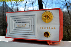 SOLD! - June 7, 2016 - SALMON and White Mid Century Retro Antique 1956 Admiral Model 5C41 Tube AM Radio Totally Restored! - [product_type} - Admiral - Retro Radio Farm