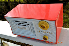 SOLD! - June 7, 2016 - SALMON and White Mid Century Retro Antique 1956 Admiral Model 5C41 Tube AM Radio Totally Restored! , Vintage Radio - Admiral, Retro Radio Farm  - 6