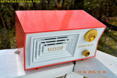SOLD! - June 7, 2016 - SALMON and White Mid Century Retro Antique 1956 Admiral Model 5C41 Tube AM Radio Totally Restored! , Vintage Radio - Admiral, Retro Radio Farm  - 7