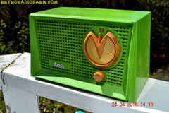 BLUETOOTH MP3 READY - Grasshopper Green Retro Jetsons Vintage 1955 Arvin 951T AM Tube Radio Works Great! , Vintage Radio - Arvin, Retro Radio Farm  - 5