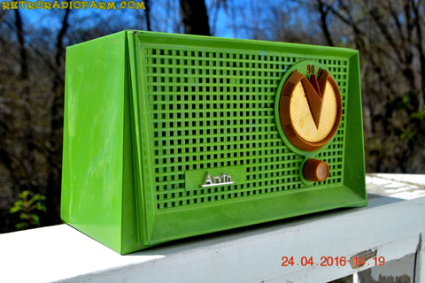 SOLD! - Apr 12, 2017 - BLUETOOTH MP3 READY - Grasshopper Green Retro Jetsons Vintage 1955 Arvin 951T AM Tube Radio Works Great!