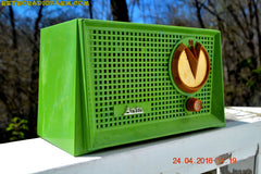 BLUETOOTH MP3 READY - Grasshopper Green Retro Jetsons Vintage 1955 Arvin 951T AM Tube Radio Works Great! , Vintage Radio - Arvin, Retro Radio Farm  - 1