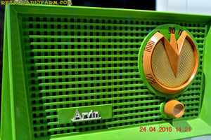 SOLD! - Apr 12, 2017 - BLUETOOTH MP3 READY - Grasshopper Green Retro Jetsons Vintage 1955 Arvin 951T AM Tube Radio Works Great! - [product_type} - Arvin - Retro Radio Farm