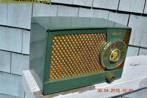 SOLD! - Apr 20, 2017 - OLIVE GREEN Mid Century Retro Antique 1959 Mitchell Fiesta Model 1305 Tube AM Radio Works Great! - [product_type} - Mitchell - Retro Radio Farm