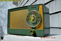OLIVE GREEN Mid Century Retro Antique 1959 Mitchell Fiesta Model 1305 Tube AM Radio Works Great! , Vintage Radio - Mitchell, Retro Radio Farm  - 2