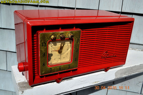 SOLD! - Dec. 14, 2017 - CARDINAL RED Retro Space Age 1955 Sylvania R5484-5768 Tube AM Clock Alarm Radio Almost Pristine!
