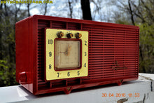 Load image into Gallery viewer, SOLD! - Dec. 14, 2017 - CARDINAL RED Retro Space Age 1955 Sylvania R5484-5768 Tube AM Clock Alarm Radio Almost Pristine! - [product_type} - Sylvania - Retro Radio Farm